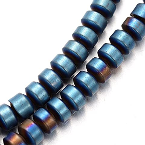3 strands of blue-metallic Hematite Beads 400 beads