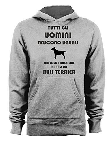 Sweatshirt mit Kapuze Alle Männer Werden gleich Bull Terrier-Hunde-Dog-Humor-Alle Größen M Bull Terrier Sweatshirt