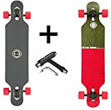 Long Island Longboard 2015 Duo drop-through mit roten Rollen + Fantic26 Skatetool