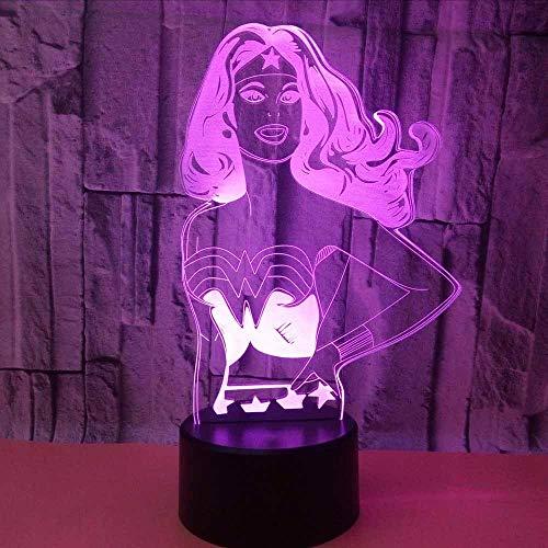 Woman Modellierung Schreibtischlampe Kid Touch-Taste Super Hero Nachtlicht Usb Schlafzimmer Beleuchtung Luminary Home Decor ()