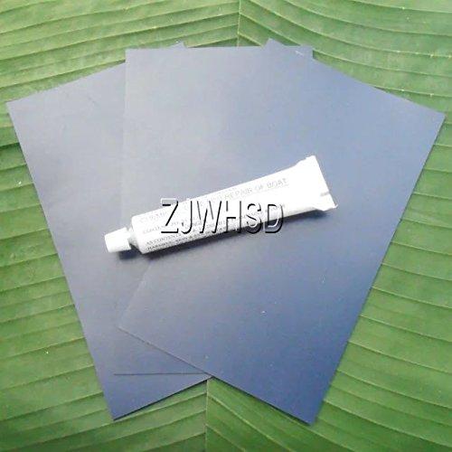 Abbott - Parche azul de PVC + pegamento, 3 unidades, 12 x 20 cm, para reparación de botes hinchables, balsas, kayak, canoas y juguetes de agua