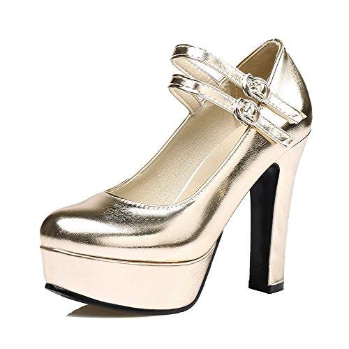 VogueZone009 Donna Luccichio Tacco Alto Fibbia Ballet-Flats, Oro, 43