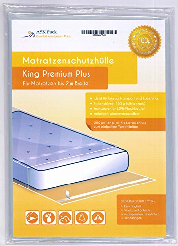 Housse De Protection Matelas King Premium pour matelas 200cm de large avec fermeture adhésive - ULTRA solide 100µ, EXTRA long 250cm