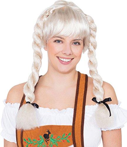 Onlyglobal Damen Party Kostüm Oktoberfest Heidi Deutschland Fräulein Zopf Perücke - blond, One ()