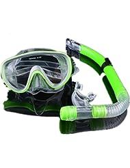 Máscara de snorkel - ojos grandes amplia vista buceo Snorkeling buceo máscara con Snorkel seco Set Combo(Green)