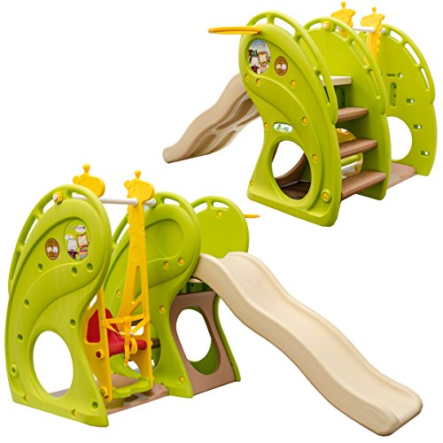 LittleTom Kinderrutsche inkl. Schaukel 180x110x120 cm Kunststoff Kinderschaukel Rutsche Outdoor Spielhaus Grün Beige