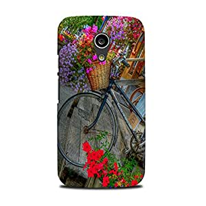 Mikzy Bicycle With A Basket Printed Designer Back Cover Case for Moto G2 (Multicolour)