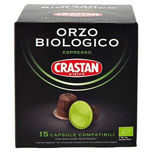 Crastan capsule orzo biologico compatibili nespresso - confezioni da 6 x 15 capsule ( 90 capsule)