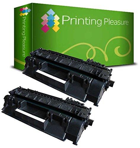 Printing Pleasure Pack 2 Unidades CE505X 05X Tóner Compatible con HP Laserjet P2050, P2053, P2053D, P2053N, P2054, P2054D, P2054N, P2055, P2055D, P2055DN, P2055X, P2056, P2056D, P2057, P2057D, P2057N