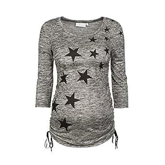 2HEARTS Umstandsshirt Stars Umstandsshirt Schwangerschafts-Shirt, Größe 36, grau