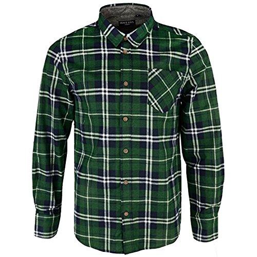 Brave soul, camicia a quadri jackd di marca, in cotone chambray, da uomo albert green medium