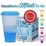 Tazza Termica per Alimenti/Cereali da Viaggio con Scomparto Refrigerante per Yogurt/Latte e Cucchiaio Pieghevole Incluso | Muesli to Go | Colore: Blu |