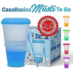Müsli To Go Becher mit Milch-Kühlfach & Löffel, Müslibecher, Joghurtbehälter, Thermobecher, Müslidose - Blau