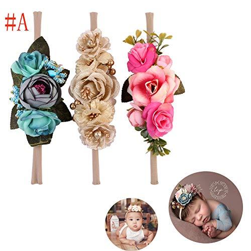 Tocado para bebé, accesorio para fotografía, cinta para el pelo, 3 unidades para bebés y niñas