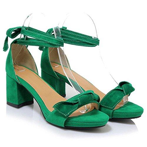 TAOFFEN Femme Mode Lacets Sangle De Cheville Ete Talon Bloc Sandales Avec Bowtie Vert