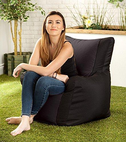 Schwarzer wasserabweisender Outdoor-Sitzsack 'Layla' mit Lehne
