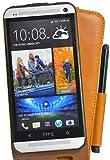 Perfect Case exklusive Flip Echtleder Tasche mit Stifthalterung für HTC One braun