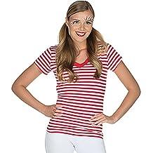 498e0468e2591e Rubie s Damen Ringelshirt V-Ausschnitt Rot-Weiß Gr. 34-48 Neptunfest  Karneval