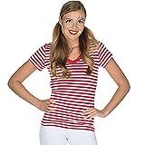Rubie's Damen Ringelshirt V-Ausschnitt rot-weiß Gr. 34-48 Neptunfest Karneval Streifen-Shirt klassisch (46/48)
