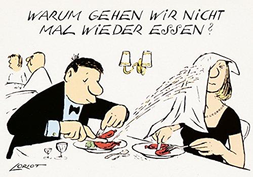 Postkarte A6 • 071 ''Warum gehen wir nicht mal wieder essen?'' von Inkognito • Künstler: LORIOT DESIGN GMBH © Loriot Top Essen