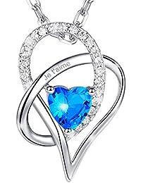 MARENJA Cristal-Collier Femme en Coeur-Cristal Bleu D'Océan-Gravé «Je t'aime»-Plaqué Or Blanc-Bijoux Fantaisie-44+5cm