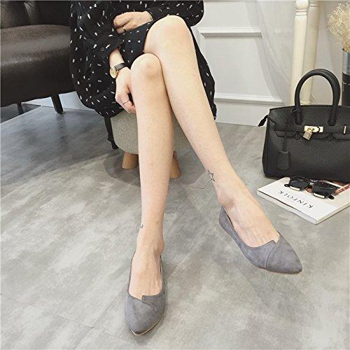 WYMBS Les nouveaux Européens et Américains fait shoes simple bouche peu profonde en daim talons plats chaussures plates des femmes Black
