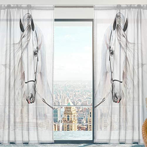 Fenster Vorhänge, Gardinen Pferd Modern Voile Platten Tüll Gardinen 198 cm Lang für Wohnzimmer Schlafzimmer Fenster Decor Set von 2 -