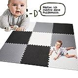 Qulista Qulista Baby Puzzlematte Spielmatte 18/9 Pcs abwaschbar Wasserdicht Dick, aus Eva Schaum Spielteppich für Indoor Outdoor Junge Mädchen (9pcs)