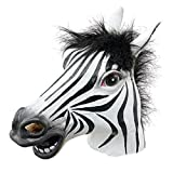 Partiss Tiermaske aus Gummi/latex fuer Kostuem Halloween Karneval Fasching Zebra,One Size,Blackweiss
