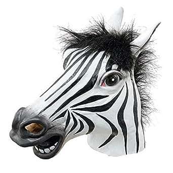 Partiss Tiermaske aus Gummi/latex fuer Kostuem Halloween Karneval Fasching Zebra,One Size,Blackweiss