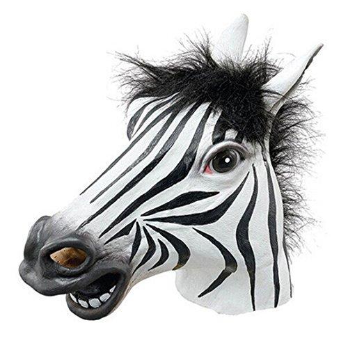s Gummi/latex fuer Kostuem Halloween Karneval Fasching Zebra,One Size,Blackweiss (Leicht Gemacht Halloween Kostüme)