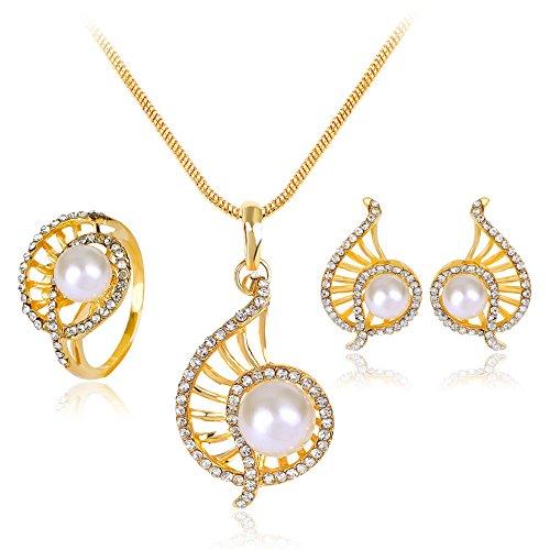 XZJX Perlenkette Dreiteilige Set Schöne Brautkleid