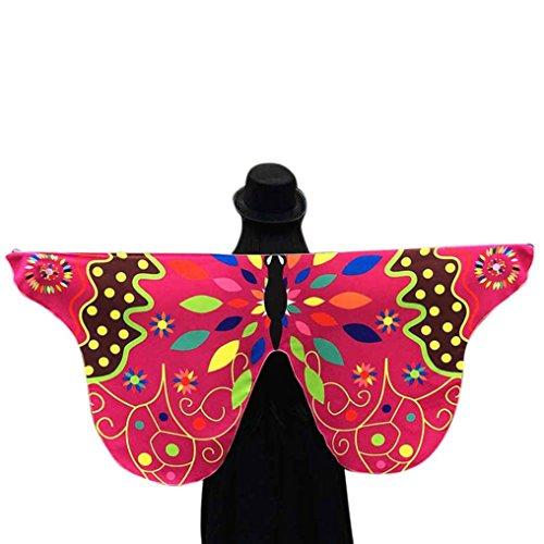 Kostüm Pink Pixie - Schal mit Schmetterlingsflügeln, weicher Stoff, Schmetterlingsflügel, Schal für Damen, Nymphe, Pixie-Kostüm-Accessoire Einheitsgröße hot pink