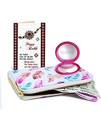 Tied Ribbons Rakhi Return Gift For Sister, Best Rakhi Gift For Sister Girl's Wallet With Wallet Mirror And Greeting...