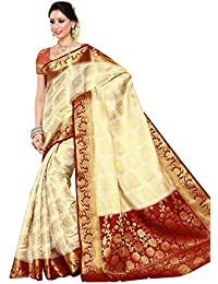 Mimosa Women's Silk Saree (201-Heht-Mrn_Off White)