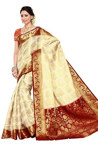 Mimosa Women's Traditional Art Silk Saree Kanchipuram Style, color :Off White(3247-201-HEHT-MRN)