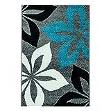 MyShop24h Teppich Flachflor Moda Geometrische Mit Blumen Muster Motiv in Grau Blau Weiß Schwarz, Größe in cm:160 x 225 cm