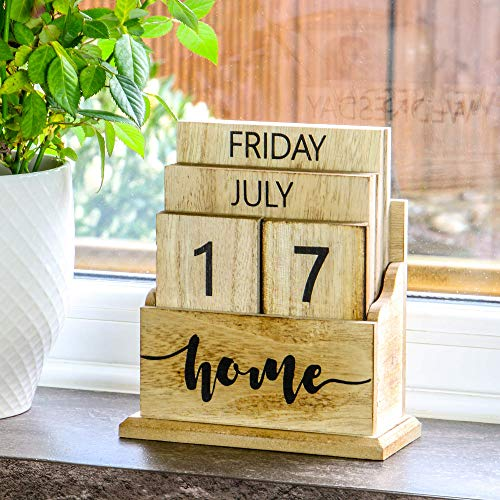 Wooden Vintage Perpetual Calendar | Stylish Eternal Desk Calendar | Lift 'n' Flip Block Design | Perfect for Home or Office | M&W (Wood)