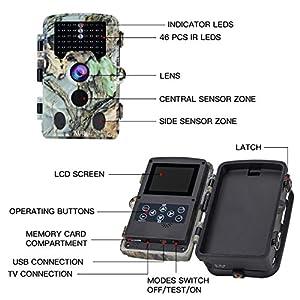 "AUCEE Tracker Trail Camera 16MP 1080P HD 120Degree PIR Sensor Hunting Camera 46pcs IR LEDs Infrared Game Camera,Wildlife Camera IP56 Spray Water Protected Design 2.4"" LCD Display 0.2s Trigger Time"