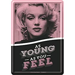 Nostalgic-Art 10302 Celebrities - Marilyn - As Young As You Feel, Blechpostkarte 10x14 cm