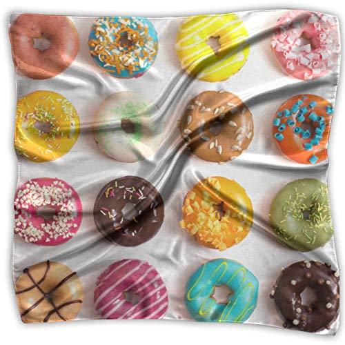 Square Satin Scarf Cool Donut Silk Like Lightweight Bandanas Head Wrap Neck Shawl Headscarf Neck Cool Wrap