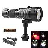 SecurityIng® Breite 120 Grad Abstrahlwinkel Tauchen Gerätetauchen Fotografie Video Taschenlampe 1500LM mit 2 x XM-L2 (U4) Weißes Licht + 2 x XP-E R5 Rot LED