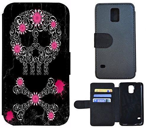 Schutz Hülle Flip Cover Handy Tasche Etui Case für (Apple iPhone 6 / 6s, 1220 Blumen Schmetterling Blau Schwarz Grün) 1229 Totenkopf Abstract Pink Schwarz