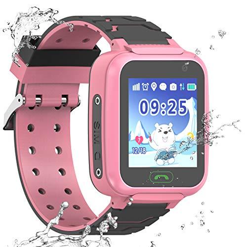 wasserdichte Smartwatch für Kinder, GPS, LBS WiFi-Positionierung, 3,6 cm Touchscreen, Armbanduhr mit Anruf, Sprache, Chat, Kamera, Schrittzähler, Wecker, Geschenk für Jungen (Pink)