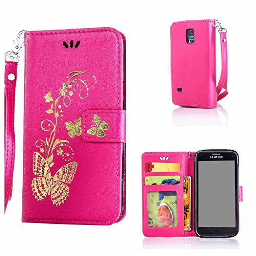 Product Image of Samsung Galaxy S5 Mini Case + Free Tempered Glass Screen Protector, BoxTii® PU Leather Wallet Case with [Lanyard Strap] for Samsung Galaxy S5 Mini, Golden Butterfly Design Elegant Folder Wallet with [Kickstand] [Card Slots] [Magnetic Closure] (#4 Hot Pink)