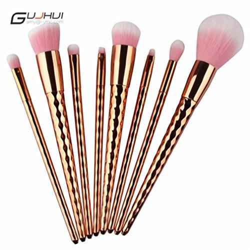 Luxe Pinceaux Maquillage x 8Pcs----HUI.HUI Pinceaux Sets Maquillage Brosse Make Up Pour Beauté Premium Fondation Mélange Blush Les LèVres Yeux Visage Poudre Cosmétiques (Or)