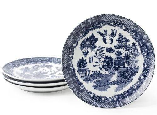 HIC Blue Willow 7-1/2-Inch Dessert Plate, Set of 4 by HIC Porcelain Blue Willow Dessert