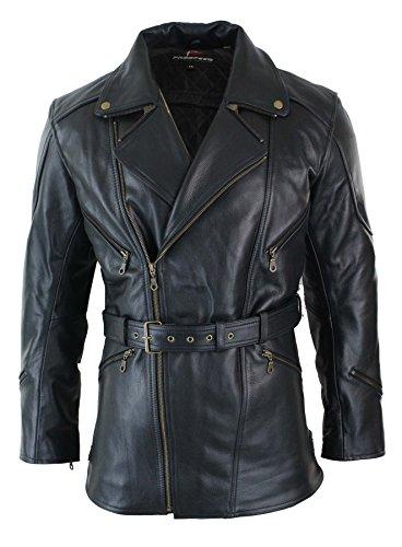 Veste cuir longue 3/4 homme fermeture diagonale ceinture biker moto avec protections CE renforts