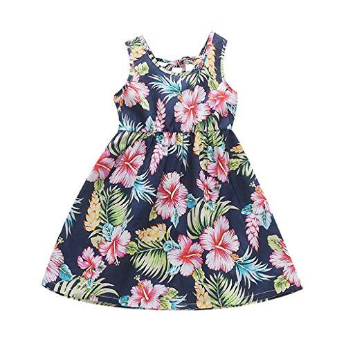 Alwayswin Baby Mädchen Elegant Party Kleid Kleidung beiläufige Prinzessin Kleid Blumen Druck Kleid Mode Wild Sommerkleid Ärmellos A-Linie Kleid Kinderkleidung Festliches Kleid