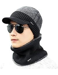 145e6780bb3c Honghu 2Pcs Bonnet Chapeau avec Écharpe de Doublure Polaire, Hiver Chapeau  Beanie pour Homme
